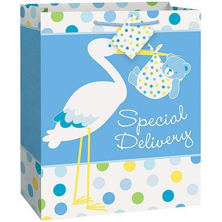 large blue stork baby shower gift bag