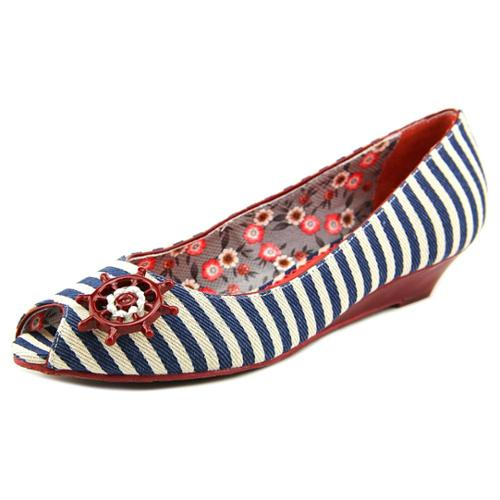 Poetic Licence Anchors Aweigh Women US 10 Blue Peep Toe Flats