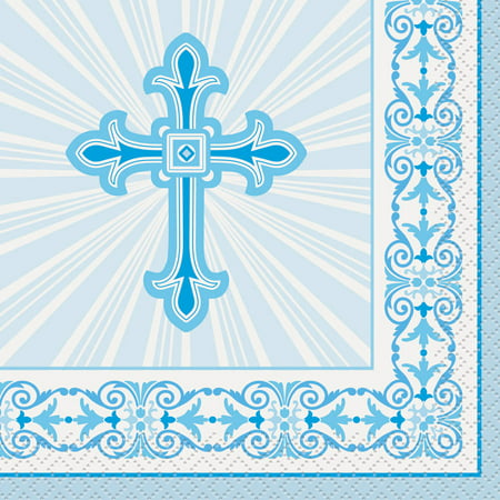 Radiant Cross Religious Beverage Napkins, 5 in, Blue, 16ct ()