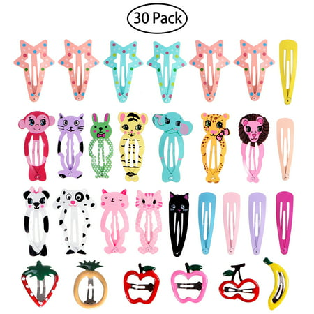 FRCOLOR 30Pcs Animal Pattern Print Girls' Metal Snap Hair Clips Cartoon Design Barrettes for Toddler -
