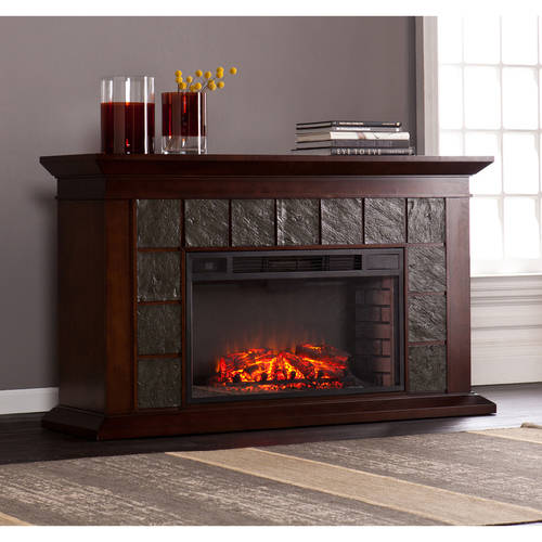 "Bishop 60"" Electric Fireplace with Faux Slate for TVs up to 58"", Warm Brown Walnut"