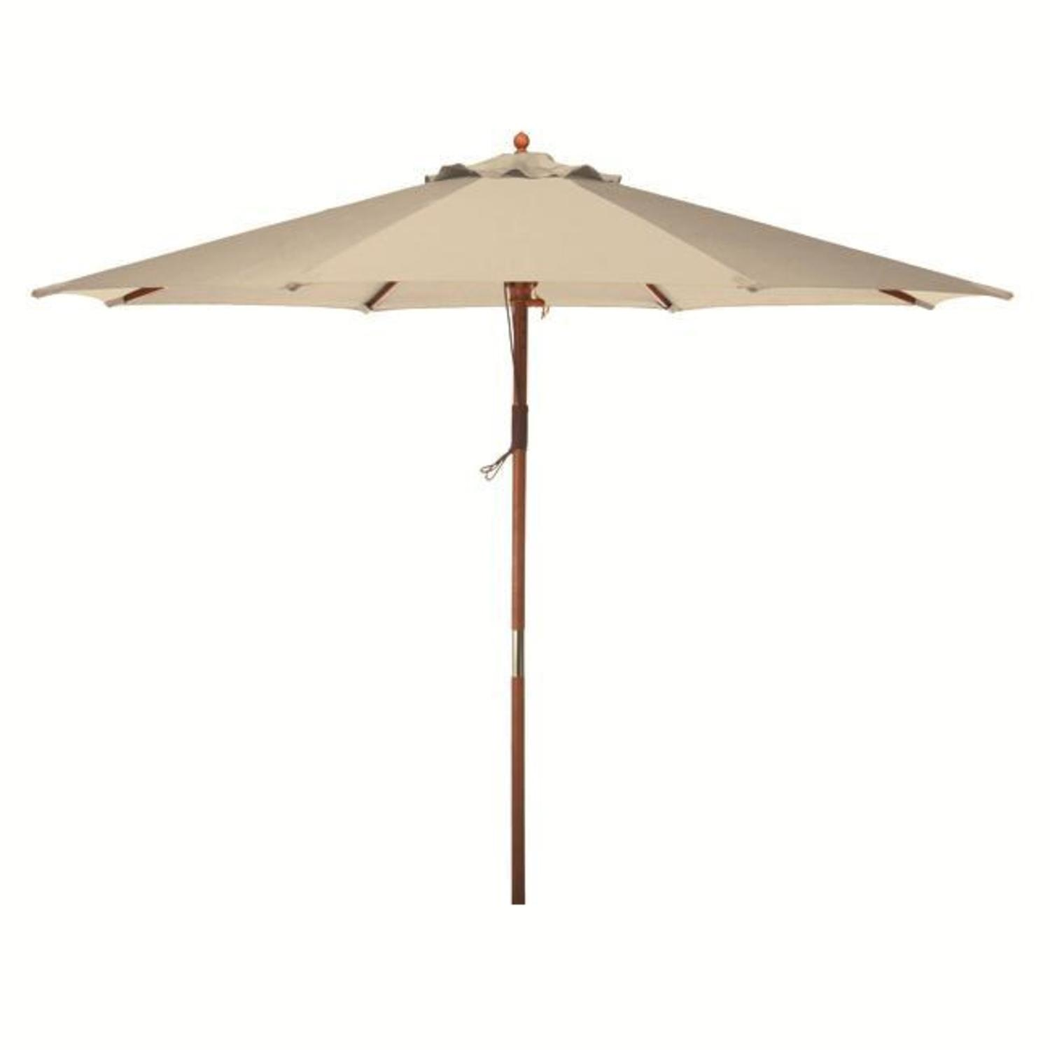 9' Natural Khaki Wooden Outdoor Patio Umbrella by CC Outdoor Living