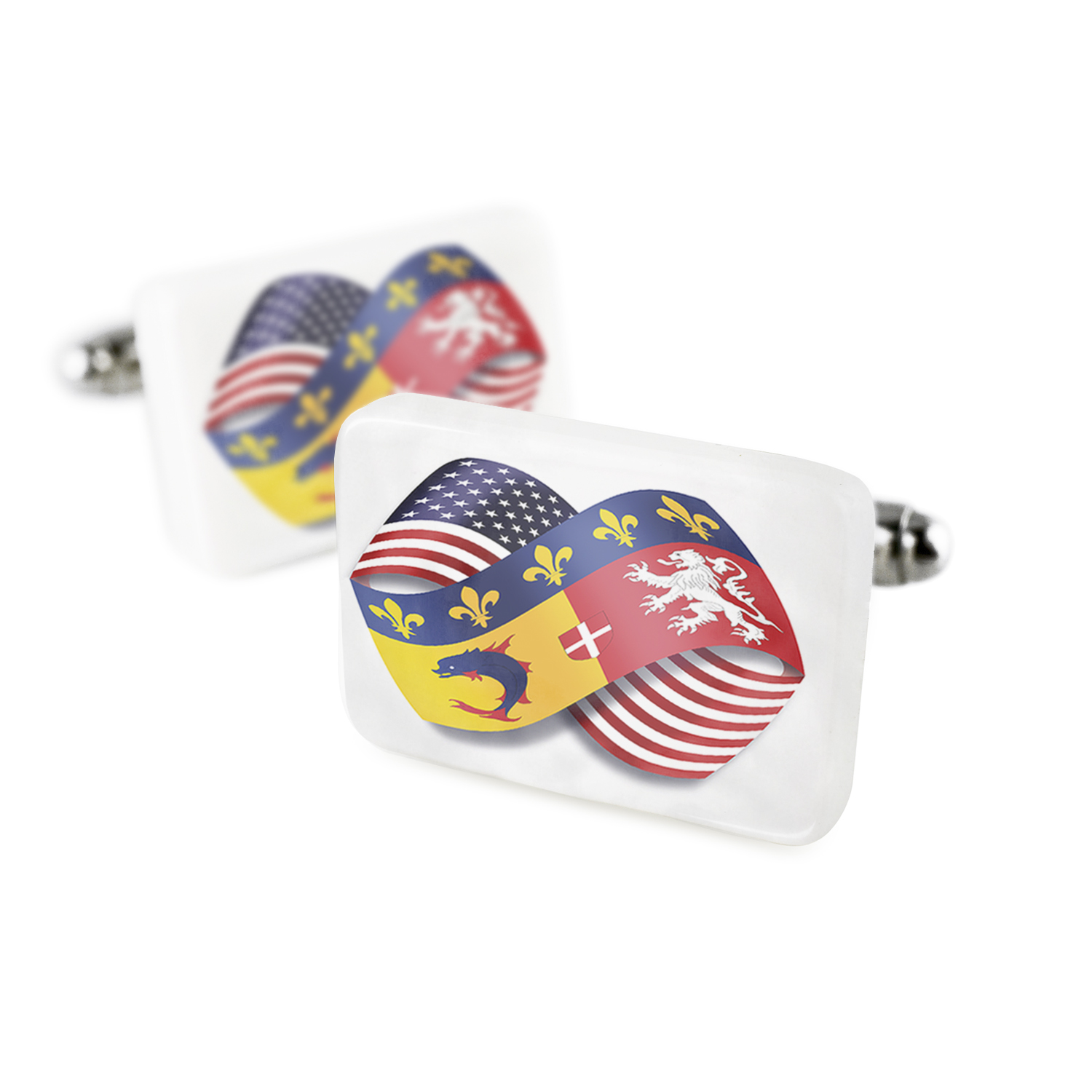 Cufflinks Infinity Flags USA and Rhone-Alpes region France Porcelain Ceramic NEONBLOND