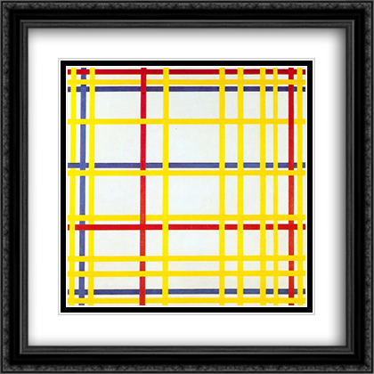 New York City I 2x Matted 28x28 Large Black Ornate Framed Art Print by Mondrian, Piet