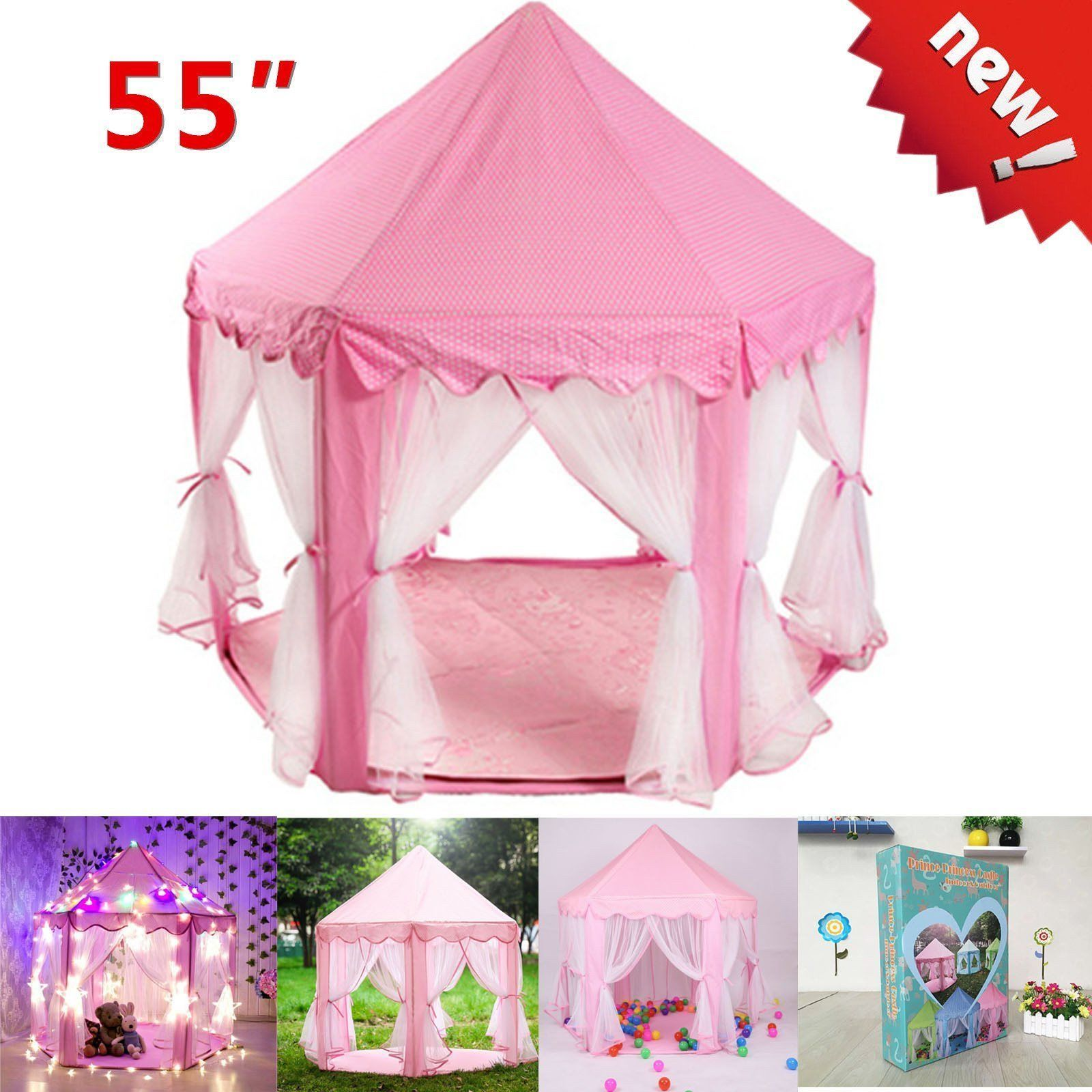 55u2033 Pink Princess House Castle Girls Playhouse Kids In/Outdoor Fairy Play Tent  sc 1 st  Walmart.com & Princess Tents