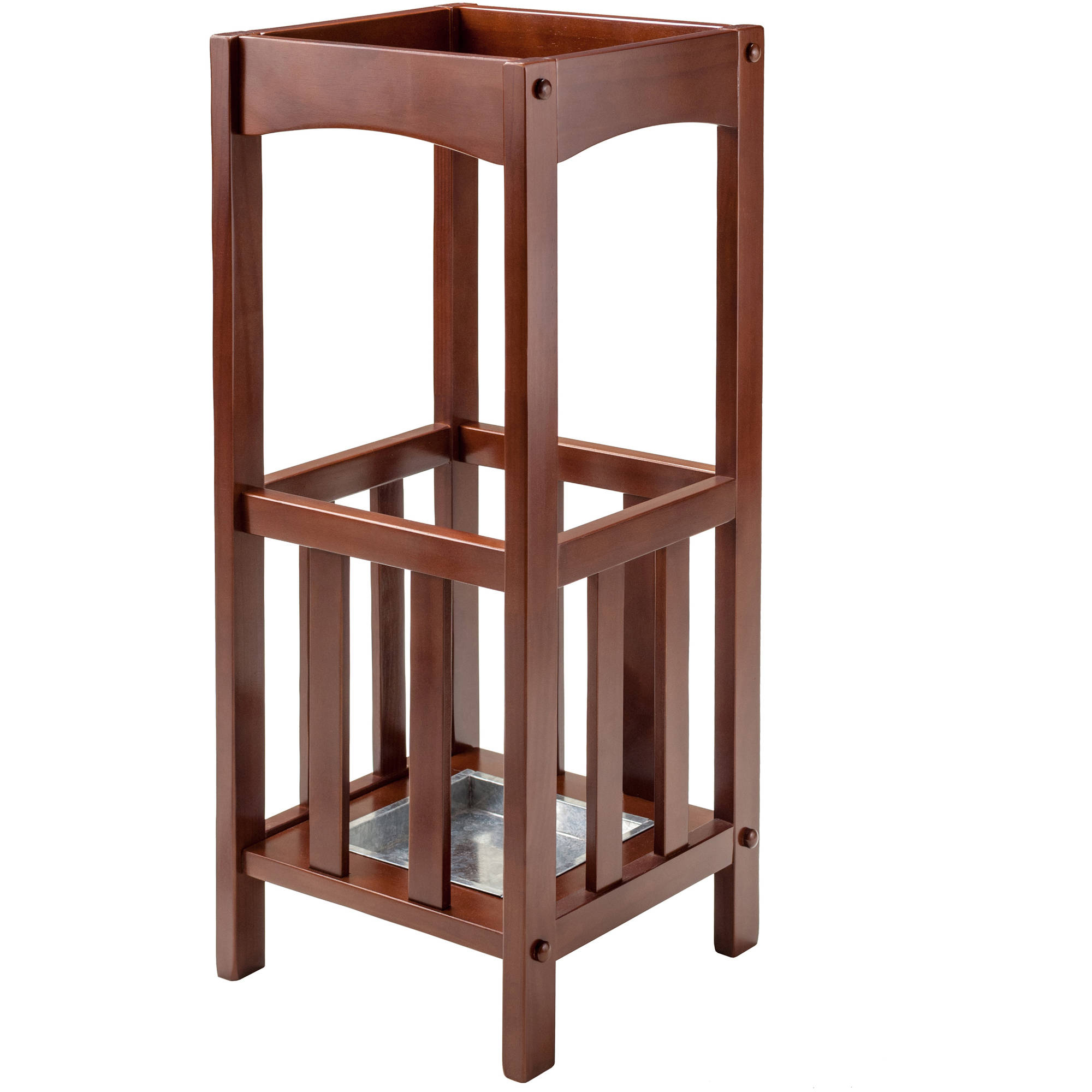 Rex Umbrella Stand with Metal Tray, Walnut