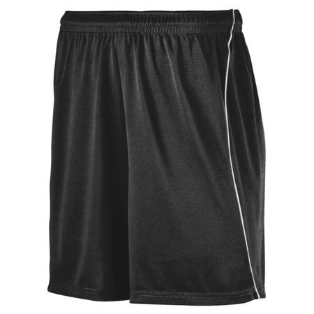 Augusta YTH WCNG SOCCER SHORT W/PIPING BLK/WHI L