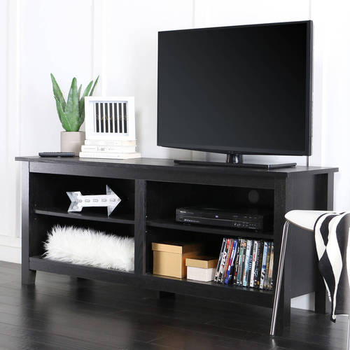 "Walker Edison Wood TV Media Storage Stand for TVs up to 64"" - Black"