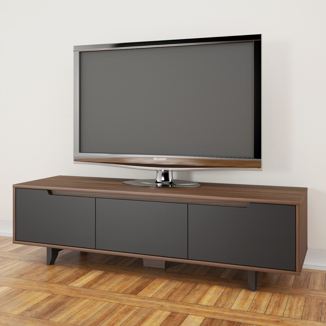 Nexera Alibi 60 inch TV Stand, Walnut and Charcaol