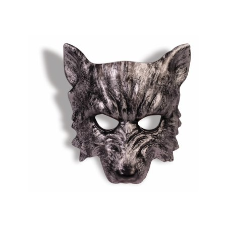 Silver Mardi Gras Mask (Adult Scary Silver Wolf Mardi Gras Mask With Elastic Costume)
