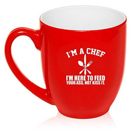 16 oz Large Bistro Mug Ceramic Coffee Tea Glass Cup Chef Here To Feed You - Chef Large Mug