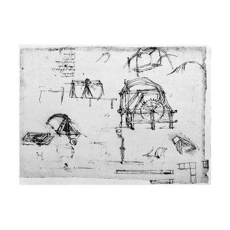 Sketch of a Perpetual Motion Device Designed by Leonardo Da Vinci, C1472-1519 Print Wall Art By Leonardo da Vinci