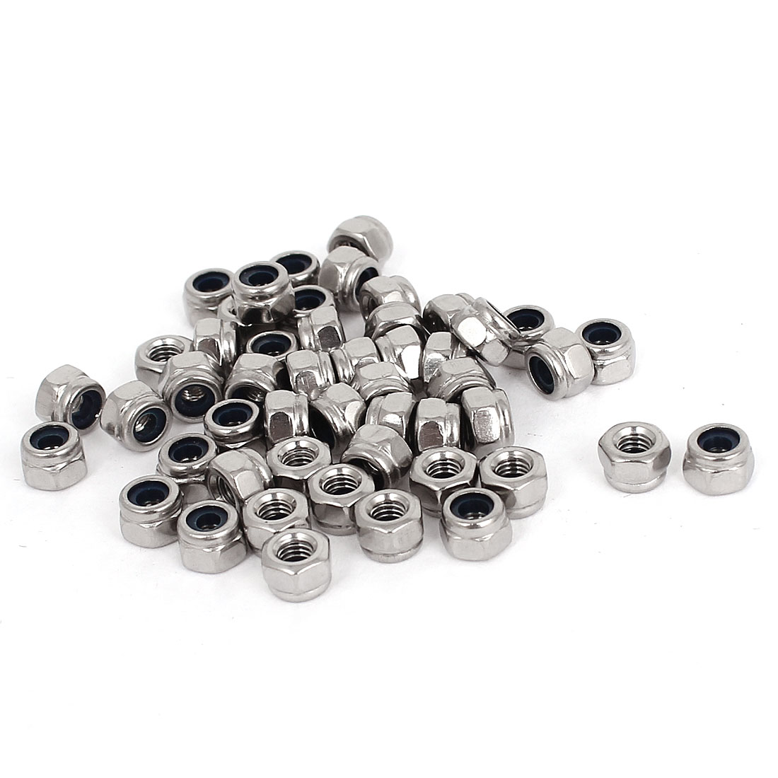 M3 x 0.5mm 304 Stainless Steel Nylock Nylon Insert Hex Lock Nuts 50pcs