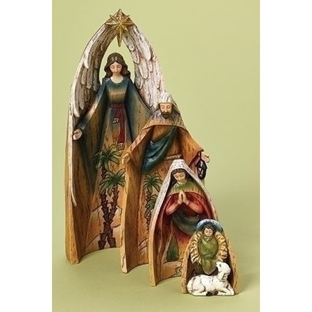 Set of 4 Holy Family with Angel and Lamb Nativity Scene Christmas Tabletop Decorations 11