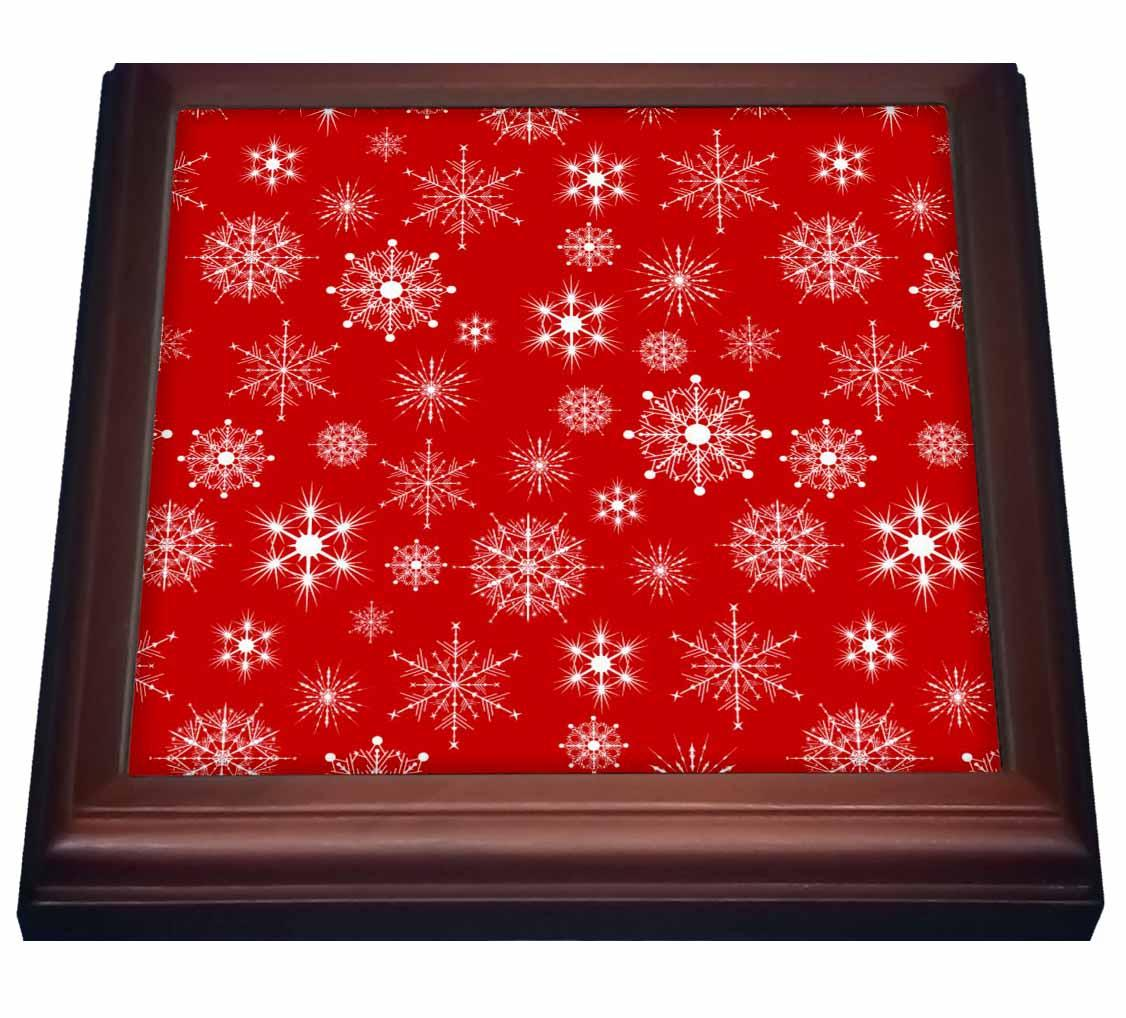 3dRose White Snowflakes Red Background, Trivet with Ceramic Tile, 8 by 8-inch