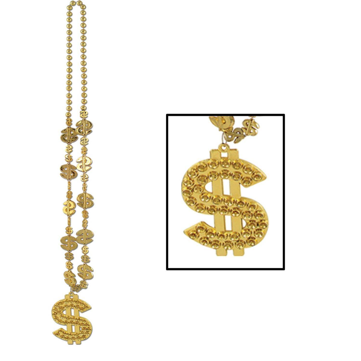 """Club Pack of 12 Shiny Gold Casino Night Beads with """"Dollar Sign"""" Party Necklaces 33"""""""