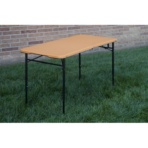 Cosco 4 Foot Adjustable Height Centerfold Folding Table, Multiple Colors