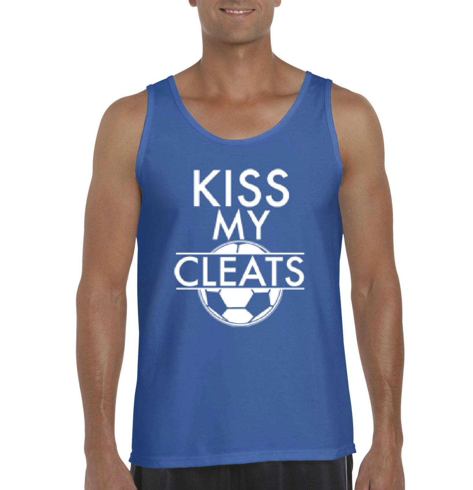 J_H_I Kiss My Cleats Soccer Ball Match w Soccer Shoes Cleats Soccer Games Mens Tanks