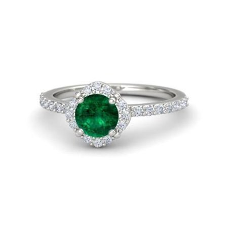 Harry Chad Enterprises 32261 3.40 CT Solitaire with Accent Emerald & Diamonds Ring - White Gold - image 1 of 1