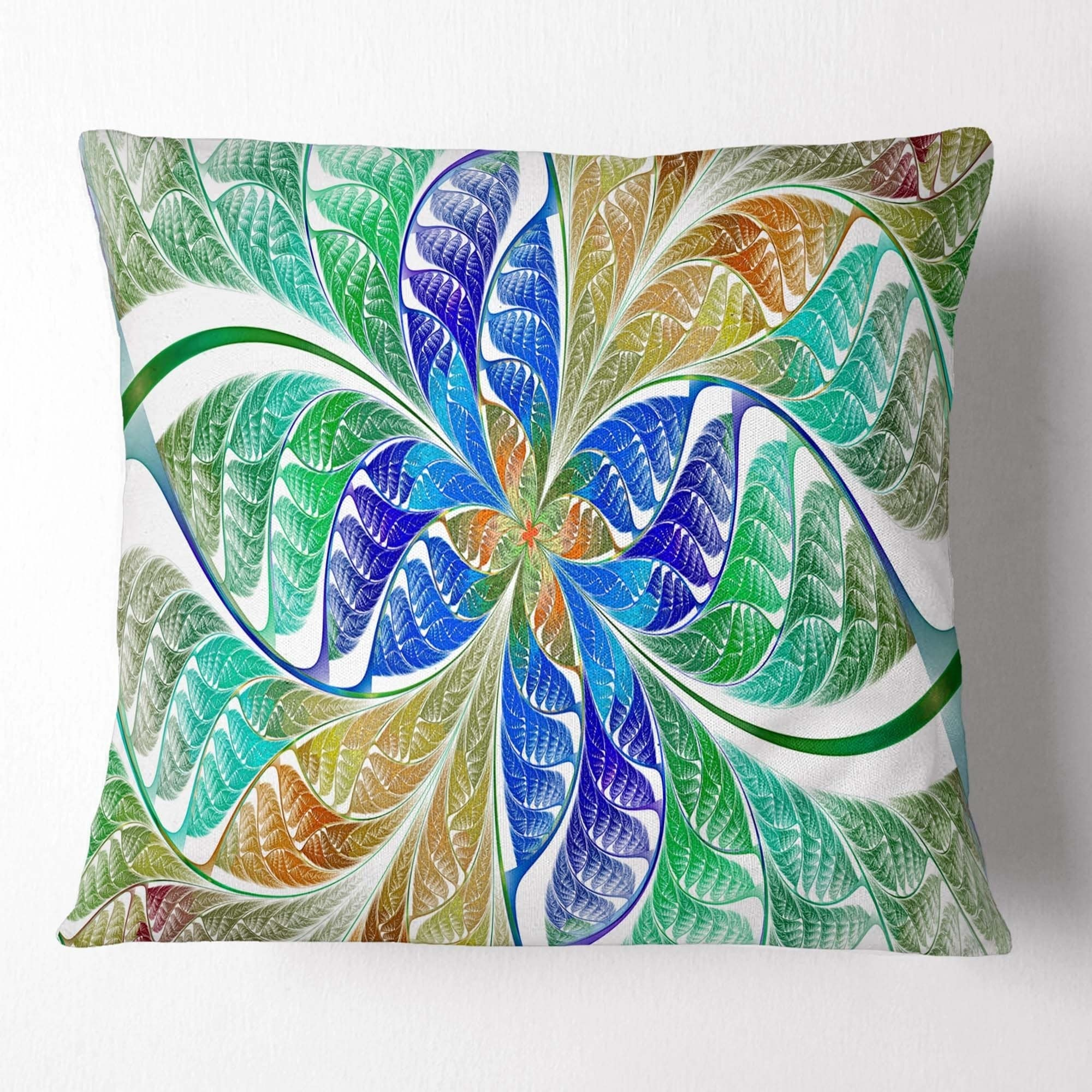 Design Art Designart Light Blue Fractal Stained Glass Abstract Throw Pillow Walmart Com Walmart Com