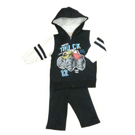 Kids Headquarters Infant Boy Monster Truck Outfit Black Hoodie (Black History Month Person Of The Day)