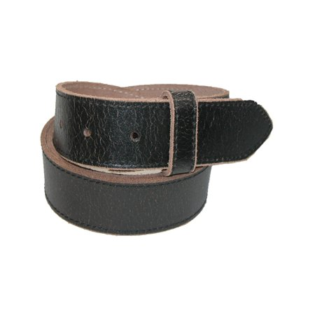Size 36 Mens Vintage Leather Distressed No Buckle Bridle Belt, Black