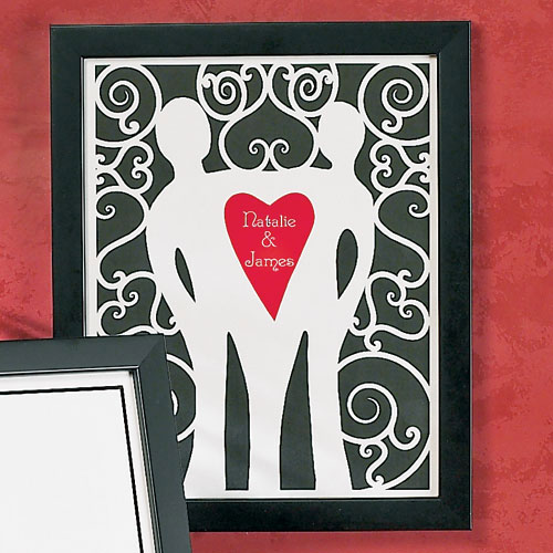 Personalized Couple Cut-Out Heart Print