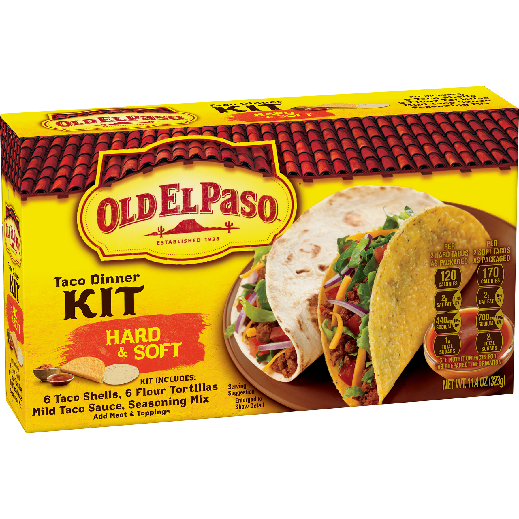 Old El Paso Hard And Soft Taco Dinner Kit, 11.4 oz