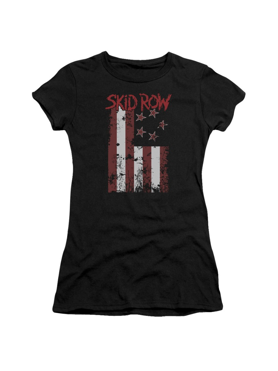f4bfe4e2c Other Rock Bands - Skid Row Classic Hair Metal Rock Band Flagged Logo  Juniors Sheer T-Shirt Tee - Walmart.com