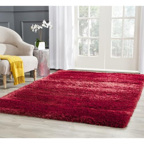 Safavieh Charlotte Shag Red / Polyester Rug (8' x 10')