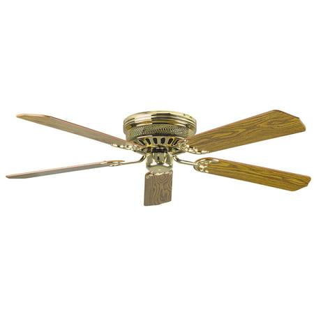 Concord  52HUG5  Ceiling Fans  Hugger  Fans  Indoor Ceiling Fans  ;Polished Brass / Light Oak and Dark Oak Blades