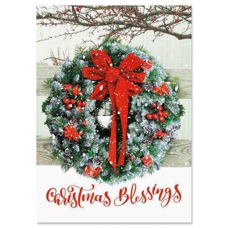 Wreath In Snow Religious Christmas Cards- Set of 18 Holiday Greeting Cards - Religious Christmas Card Sayings