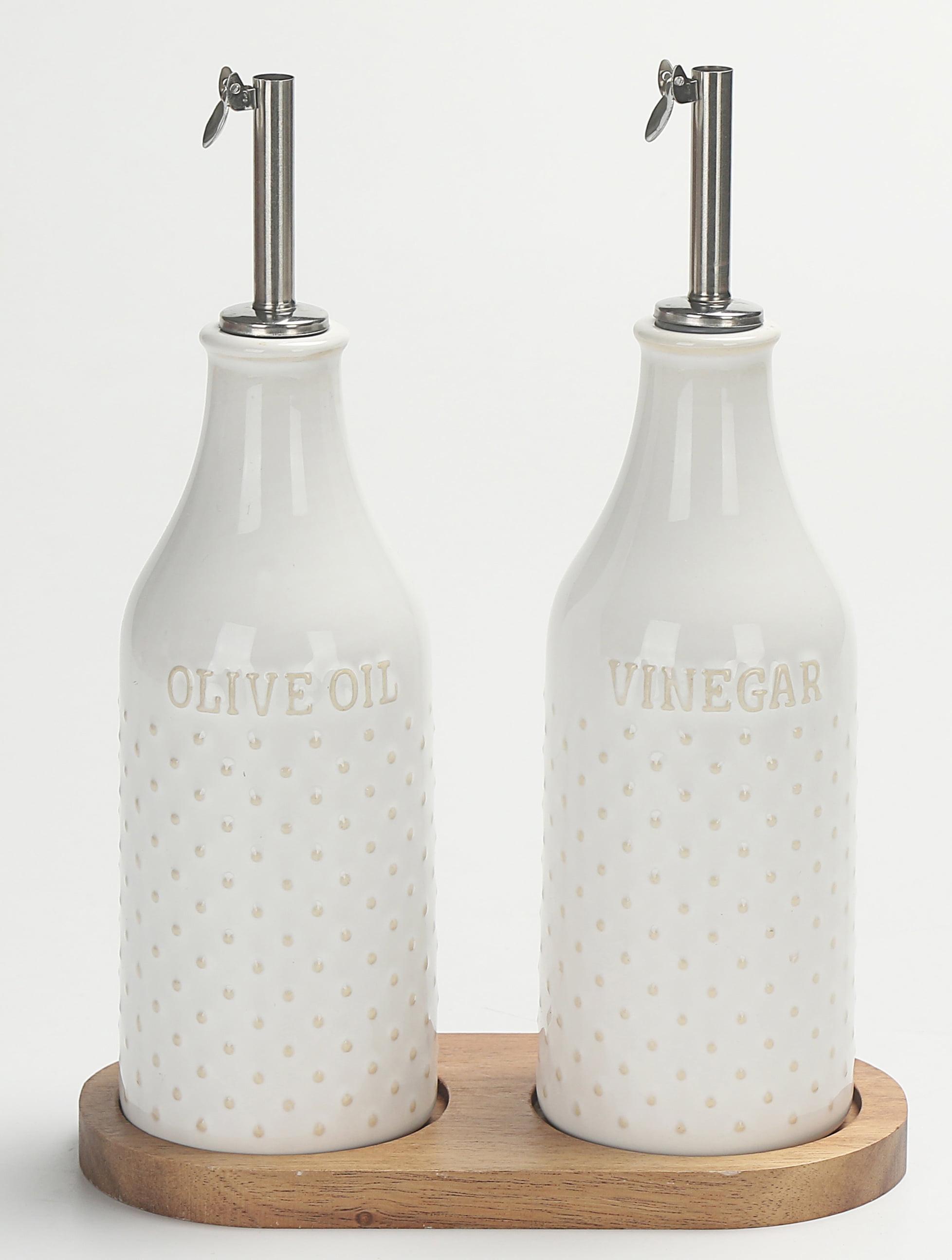 Better Homes & Gardens Ceramic Hobnail Oil & Vinegar Bottle Set