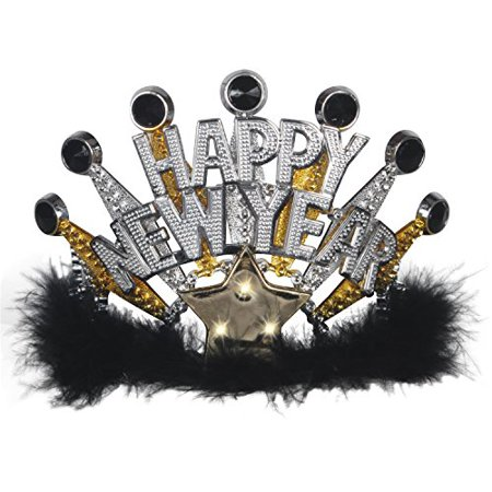 Loftus International Loftus Flashing Light Up Happy New Year Crown Tiara, Black Gold Silver, One Size Novelty Item - image 1 de 1