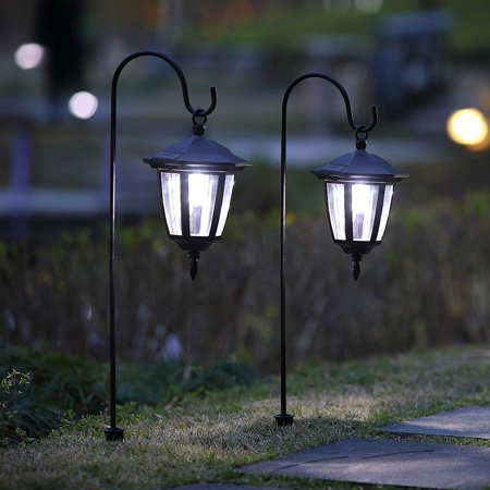 26 Inch Hanging Solar Lights Dual Use Shepherd Hook Lights with 2 Shepherd Hooks Outdoor Solar Coach Lights, 2 pack ()