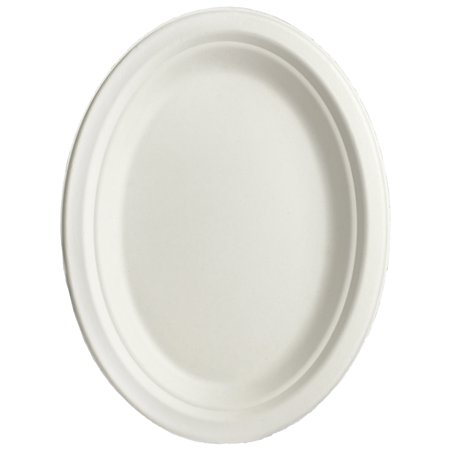 Brheez Sugar Cane Disposable Oval Plate or Serving Platter - 12.5