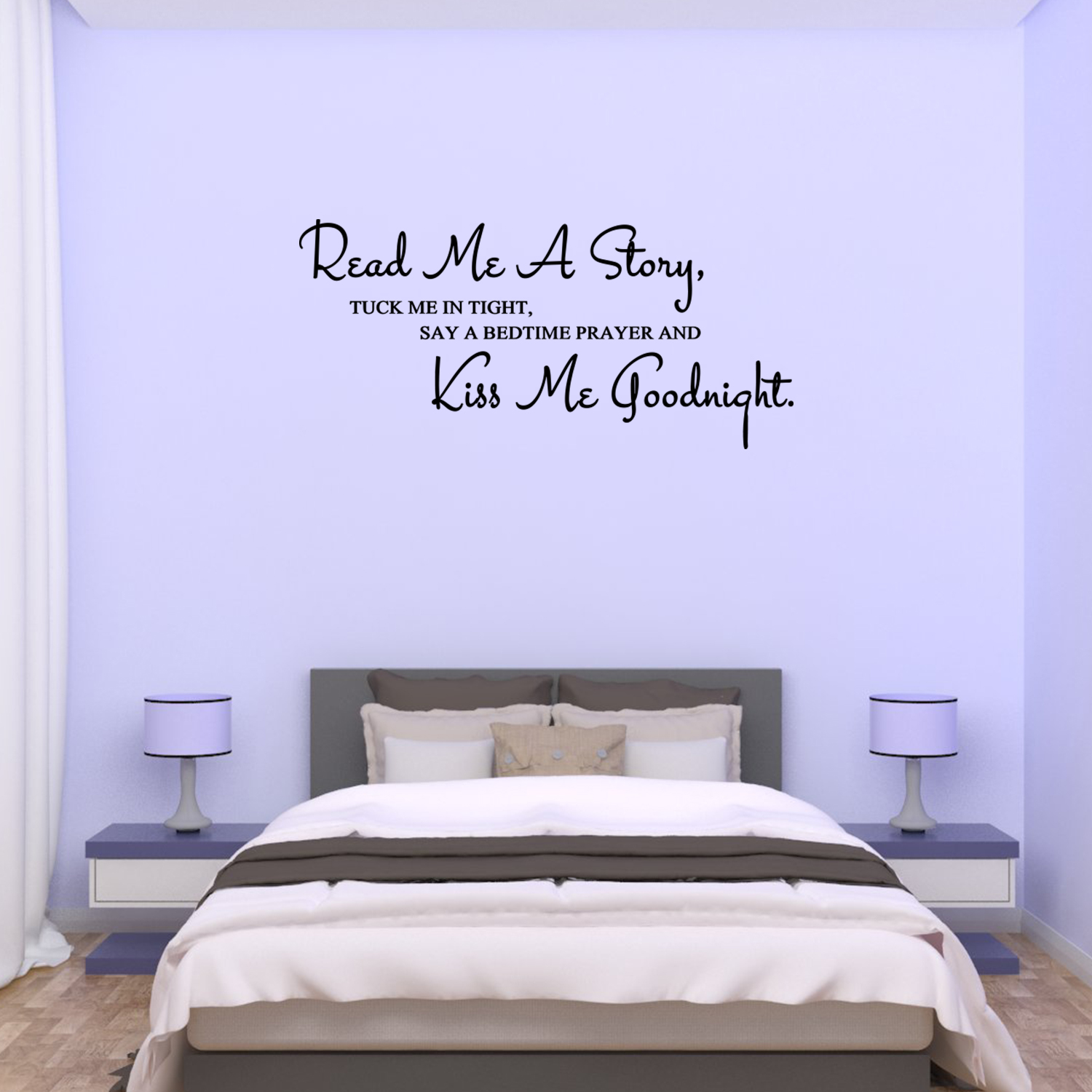 Wall Decal Quote Read Me A Story Tuck Me In Tight Say A Bedtime Prayer And Kiss Me Goodnight C199 Walmart Com Walmart Com