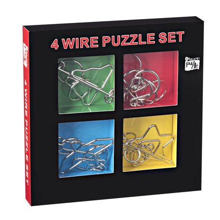 Kidstech Metal Brian Teaser - Wire Puzzles, Set of 4, Mind Game Handheld Disentangled Puzzle Toys, Educational Puzzle Challenge with storage Box, for Kids and Adults - Mind Teaser