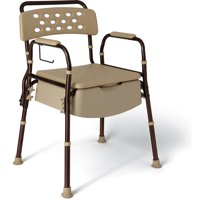 Medline Elements Bedside Commode, Microban Antimicrobial Protection, 400lb Weight Capacity, Dark Bronze Frame