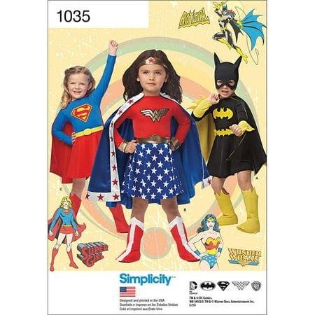 Simplicity Child's Wonder Woman, Supergirl, Batgirl Costumes, 3-4-5-6-7-8 - Child's Wonder Woman Costume