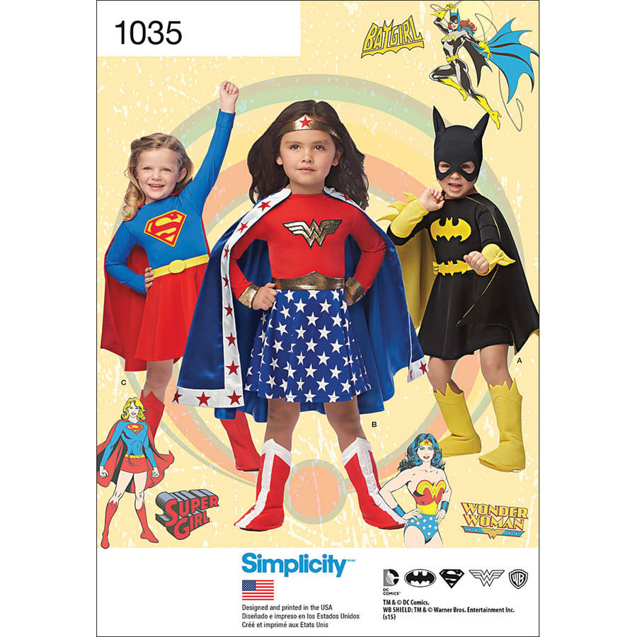 Simplicity Child's Wonder Woman, Supergirl, Batgirl Costumes, 3-4-5-6-7-8