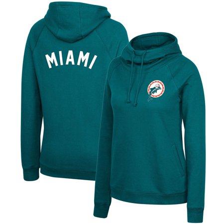 Miami Dolphins Mitchell & Ness Women's Funnel Neck Raglan Pullover Hoodie - Aqua
