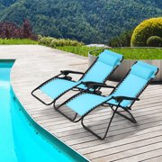 Ollieroo 2-Pack Folding Zero Gravity Chairs Lounge Patio Chairs Outdoor Yard Beach Blue