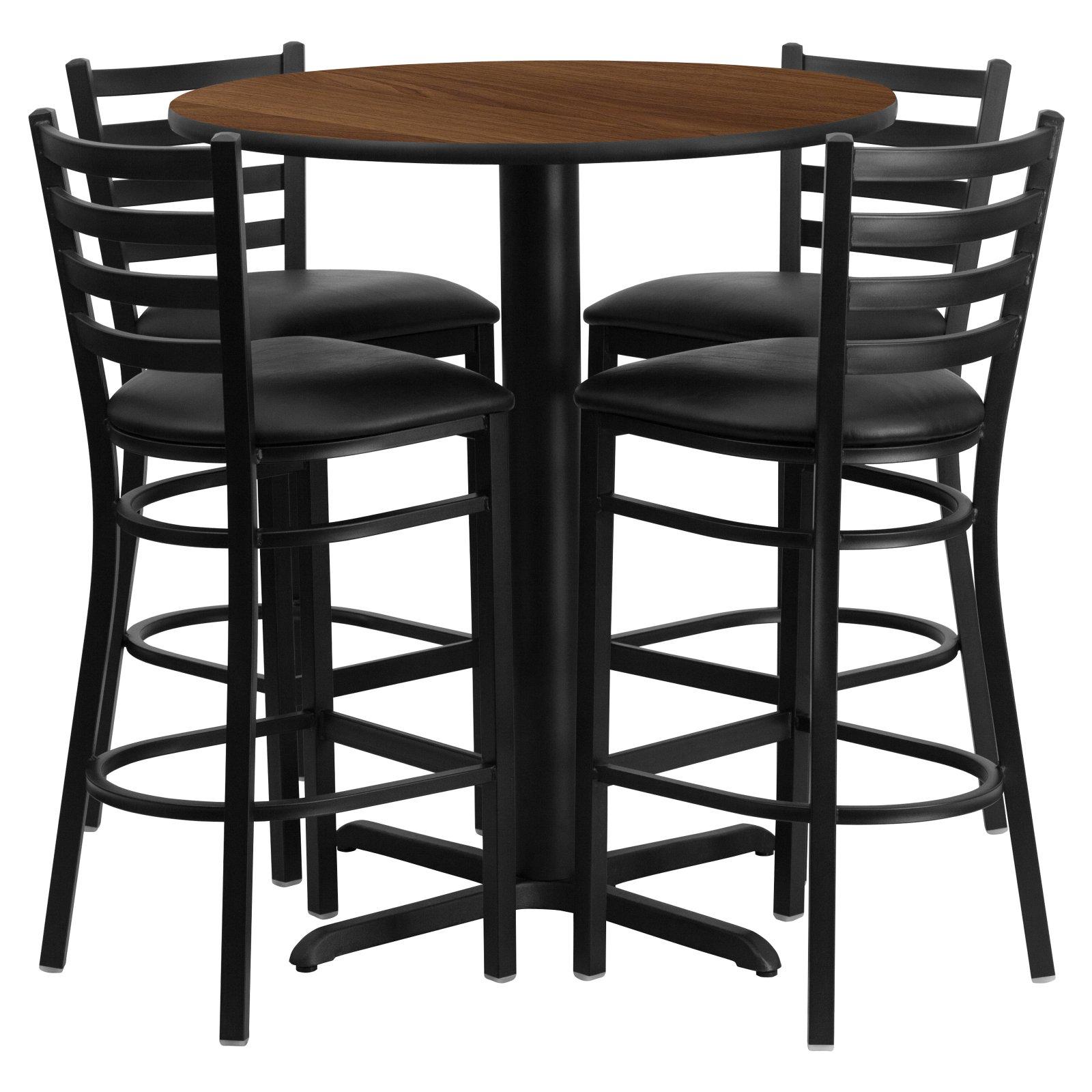 Flash Furniture 30'' Round Walnut Laminate Table Set with 4 Ladder Back Metal Barstools, Black Vinyl Seat Black, Walnut