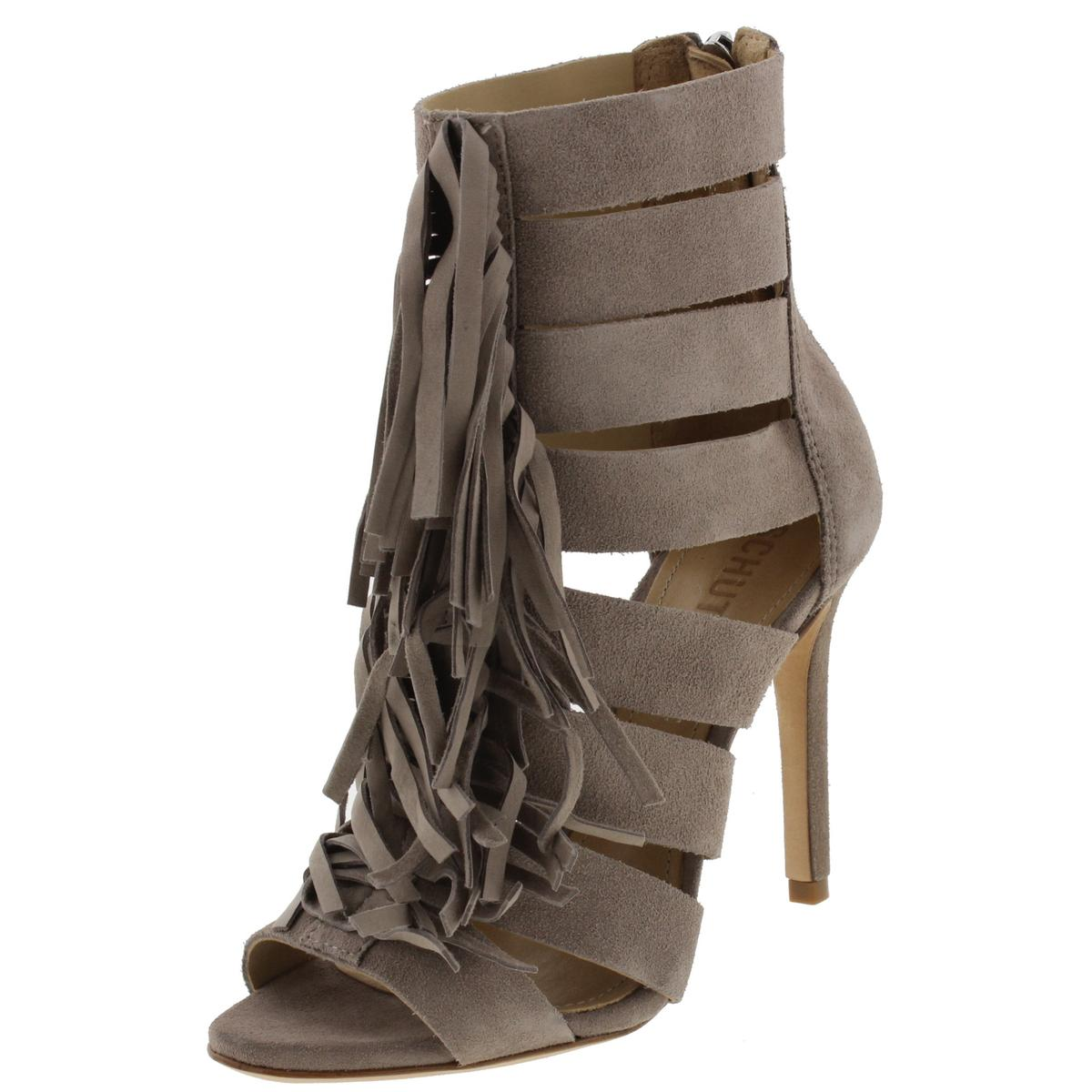 Schutz Womens Marva Suede Fringe Dress Heels
