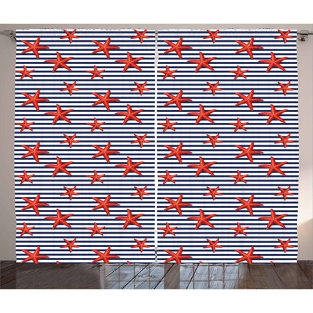 Starfish Curtains 2 Panels Set, Classical Striped Backdrop with Red Colored Sea Stars Maritime Themed Pattern, Window Drapes for Living Room Bedroom, 108W X 96L Inches, Navy White Red, by Ambesonne