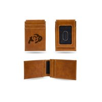 Colorado Buffaloes Laser Engraved Brown Front Pocket Wallet