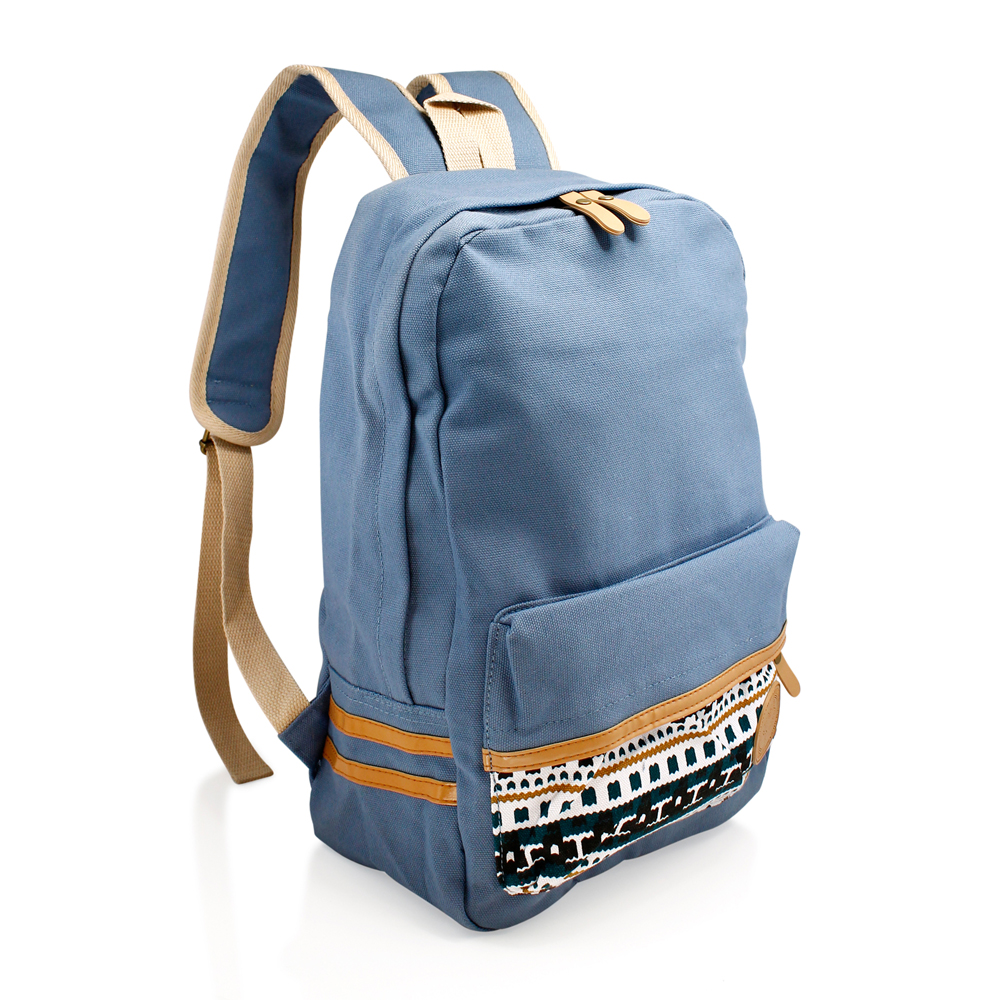 Fashion Women Canvas School Bag Girl Cute Satchel Travel School Backpack with Pattern Shoulder Rucksack - Slate