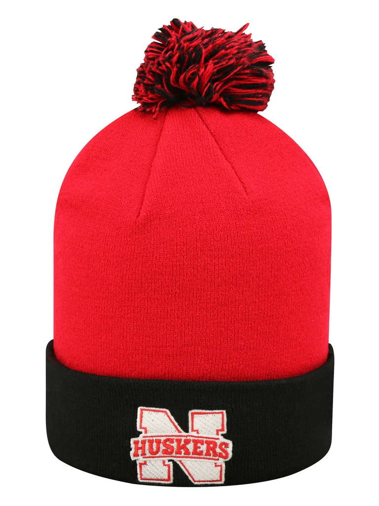 ... spain nebraska cornhuskers ncaa pom cuffed knit two tone beanie  stocking hat 048024 6c6c6 3b3bf 7385f051bd12