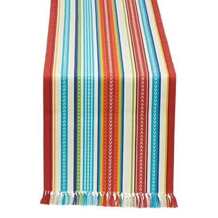 Design Imports Baja Stripe Fringed Table Runner - 13 x 72